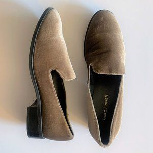 Marc Fisher Velvet Plush Loafers - Tan Taupe 7